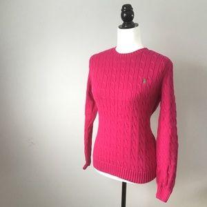 Ralph Lauren hot pink cable knit crewneck sweater